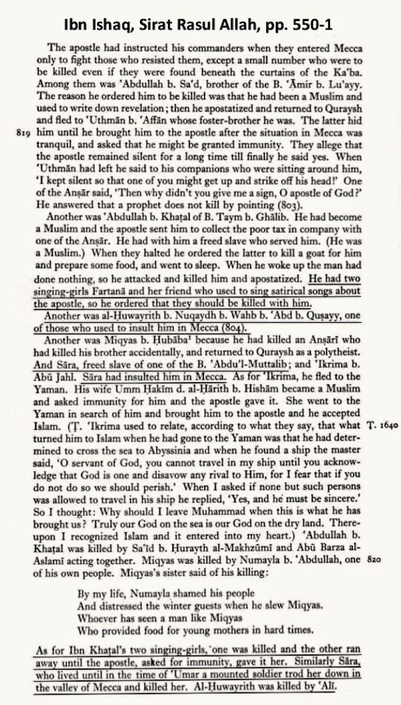Ibn Ishaq on Killing Critics